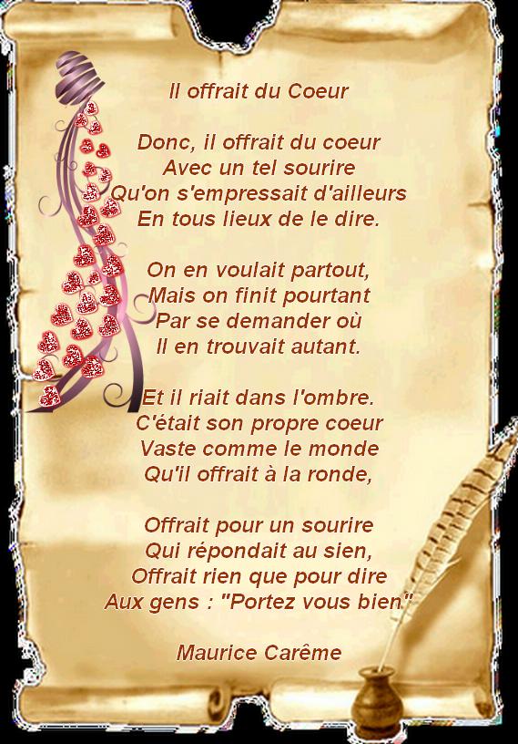 Poème De Maurice Carème Envoyé Par Marie